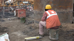 India, welder at construction site, industrial, industry, labor, welding - stock footage