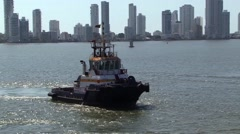 Cartagena Harbour Tug Boat Stock Footage