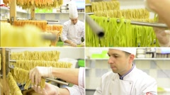 4K montage (compilation) - Chef gives dry pasta on stand - after production Stock Footage