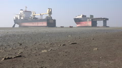 Bangladesh, Chittagong, ship breaking yards, cargo vessels, deconstruction Stock Footage
