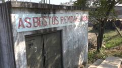 Bangladesh, Chittagong, asbestos removal area at ship breaking yards Stock Footage