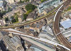 Aerial view of a railway triangle with trains in London, UK. Kuvituskuvat