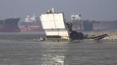 Bangladesh, Chittagong ship breaking yards, industry, economy, fisherman Stock Footage
