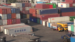 Container terminal in Chittagong port in Bangladesh Stock Footage