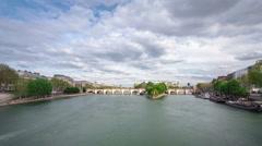 Banks of the river Siene with Île de la Cité timelapse, Paris Stock Footage
