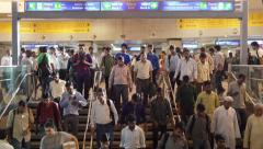 New Delhi, India metro (subway) station, passengers commuting Stock Footage