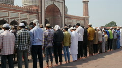 India New Delhi Friday prayer Jama Masjid mosque Islam Muslims Stock Footage