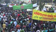 Bangladesh politics, people march through streets of Dhaka, Victory Day Stock Footage