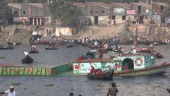 Dhaka, Bangladesh, crossing the Buriganga river, cargo transport, rowboats Stock Footage