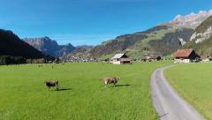 Aerial view of Engelberg, Switzerland Stock Footage