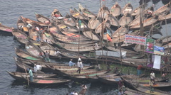 Dhaka Bangladesh, wooden rowing boats, pattern, river, transport, commute Stock Footage