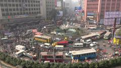 Business and financial center of Dhaka in Bangladesh, busy rush hour traffic Stock Footage