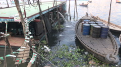 Dhaka river, floating power generators, electricity for nearby bazaar Stock Footage