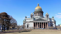 Movement of clouds over St. Isaac's Cathedral in St. Petersburg on march 2015, R Stock Footage