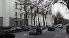 Cars go past the building of the Verkhovna Rada 1 Stock Footage