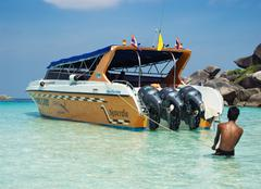 Powerful boat for transportation purists - stock photo