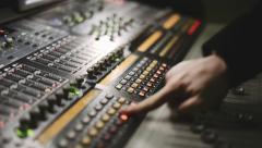 Working with audio mixing console Stock Footage