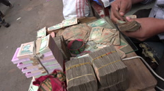 Dhaka bazaar, money counter, Taka bills, business, finance, market, Bangladesh - stock footage