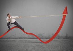 Businessman lifts statistics - stock illustration
