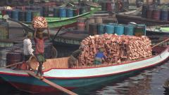 Bangladesh Dhaka, workers carry bricks, manual labor, employment, industry - stock footage