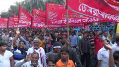 Bangladesh, Dhaka, Victory Day, politicians and followers, banners, marching - stock footage