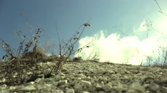 The picturesque hillside on a background of clouds float Stock Footage