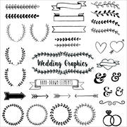 Hand Drawn Clip Wedding Art - stock illustration