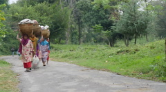 India tea estates, women carry baskets with tea leaves on their heads Stock Footage
