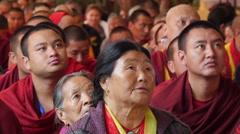 India, McLeod Ganj, Dalai Lama speech, Buddhism, devotees, Tibetan culture Stock Footage