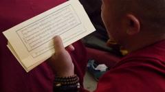Chanting Tibetan verses during Dalai Lama speech in McLeod Ganj, India Stock Footage