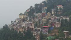 Homes in McLeod Ganj, a town in Northern India - stock footage