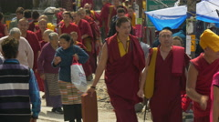Monks and devotees after Dalai Lama speech in McLeod Ganj, India Stock Footage