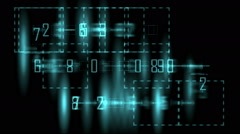 Numbers in frame transforming and flickering on black background - stock footage