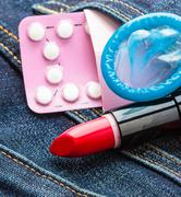 Healthcare medicine, contraception and birth control. Closeup oral contraceptive Stock Photos