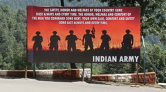 Stock Video Footage of India, army recruitment, billboard, soldiers, military, advertising