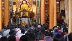 Dalai Lama gives a public speech in McLeod Ganj, India Stock Footage