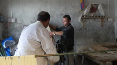 Frehsly cut noodles in a small Tibetan factory in Dharamsala, India Stock Footage