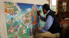 Artist makes a Tibetan thangka painting, Norbulingka Institute, India Stock Footage