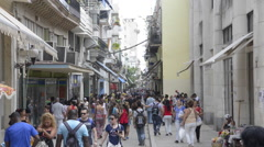 Busy Shopping Street - Old Havana, Cuba Stock Footage