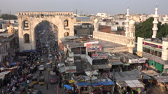 Entrance gate to Hyderabad city, Charminar area, call for prayer, Islam, India Stock Footage