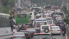 Traffic jam in Hyderabad's HITEC city, one of India's technology hubs Stock Footage