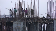 Construction site in Hyderabad city, India Stock Footage
