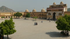 Stock Video Footage of Tourists visit the Amber Fort in Jaipur, India