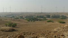 India, major wind farm in the deserts near Jaisalmer, Rajasthan province - stock footage
