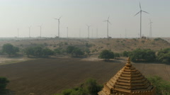 Stock Video Footage of India renewable energy, wind turbines, deserts, temple, contrast, Asia
