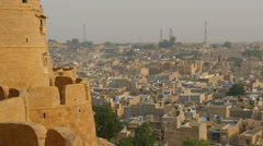 Jaisalmer Fort, ancient structure, view towards city, Rajasthan India Stock Footage