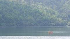 People enjoying boat ride on liyu lake. taiwan. Stock Footage