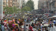 Crowds fill the streets for last minute shopping in city in India - stock footage