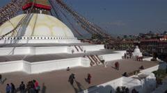 People visit Boudhanath stupa in Kathmandu, Nepal Stock Footage