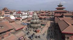 Ancient buildings at Patan Durbar Square, Kathmandu monuments, Nepal Stock Footage